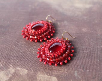 Red Dangle Earrings Bead Embroidery Earrings Beadwork Earrings Glass beads Earrings Cabochon Earrings Ethnic Boho Jewelry Gift idea for her