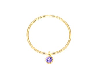 Starlight - Gold Fill Crystal Purple CZ Cubic Zirconia Stone Charm Ring Dangling Dainty Birthstone Slim