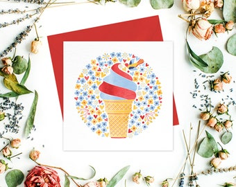 Ice Cream Greeting card or greeting cards set - Floral Cards, Stationery, Ice Cream Cards, Friend card, Birthday Cards, Get Well Cards