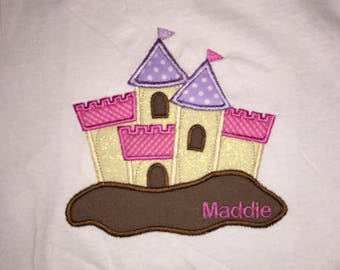 Toddler Sand Castle Short Sleeve T-Shirt with Embroidered Personalized Name