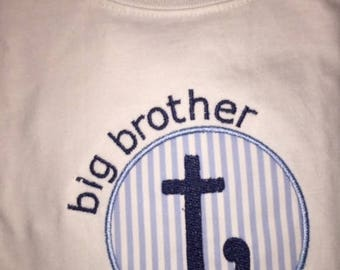 Youth Big, Middle or Little Brother/Sister Circle Monogram Applique Customizable  White Short or Long sleeve T-Shirt