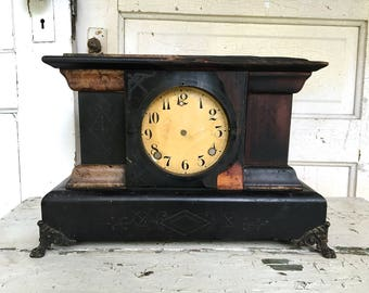 Antique Mantel Clock Wood Ornate Clock Case