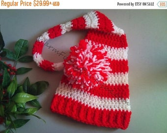 SUMMER SALE Baby Candy Cane Elf Long Tail Hat - U Choose Colors - Crochet Newborn Beanie Boy Girl Costume Christmas  Photo Prop Cap Outfit