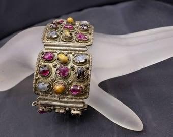 Art Deco Multi Gem Silver Bracelet, Wide Gemstone Bracelet. Vintage Moonstone, Garnet, Tiger's Eye, Amethyst Bracelet,