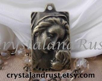 2pc. Religious Mother & Child Charms --- Antique Bronze Color  --- CHM - 116