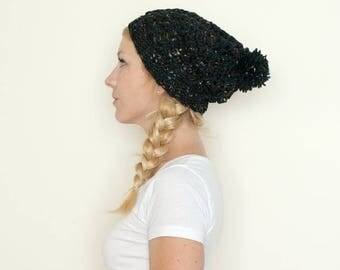 FLASH SALE the SUMTER hat - Slouchy hat beanie crocheted pom hat - galaxy black  - wool
