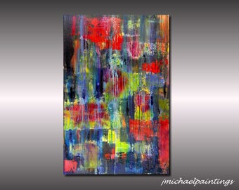 Large Abstract Painting Canvas Art Modern Abstract Acrylic Red Abstract Drip Painting Vivid Colorful JMichael