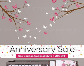 Butterfly Wall Decal and Branches | Custom Baby Nursery, Children's Rooms, Living Space Interior Designs | Easy Application | 069