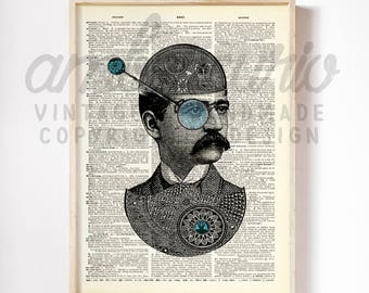 Monocled Gear Head Steampunk Tinker Tailor Toy Maker Original Collage Print on an Unframed Upcycled Bookpage