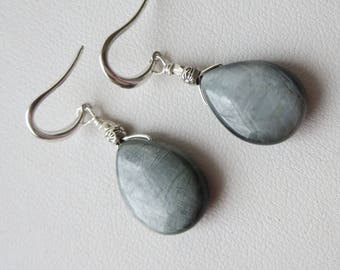 Dove Gray Cats Eye (Hawks Eye) Sterling Silver Earrings