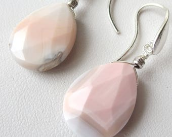 Rare Pink Botswana Agate Teardrop Sterling Silver Earrings