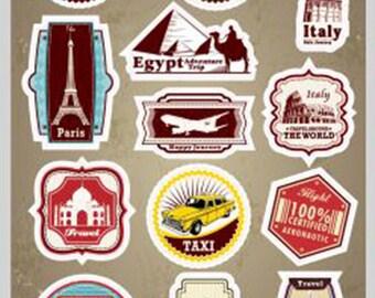 Travel Sticker Decorative Sticker Laptop Suitcase Sticker Masking Sticker - 1 Sheet 14 Pcs