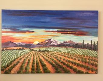 landscape painting, landscape oil painting, orchard painting, vineyard painting, sunset painting. landscape oil painting, sunset painting,