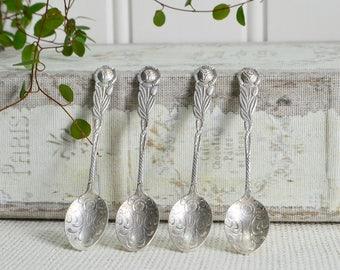 Super tiny demitasse coffee spoons, vintage Swedish high tea cutlery, ornate rose pattern