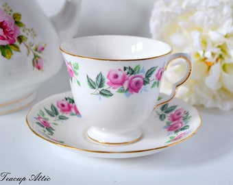 Queen Anne Vintage Teacup And Saucer Set with Pink Roses, Pattern 8343,  Wedding gift, Mother's Day, ca. 1959-1966