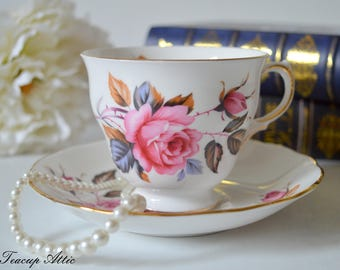 Royal Vale Teacup and Saucer Pattern 8326, Vintage English Bone China Tea Cup, Garden Tea Party,  ca. 1962-1964