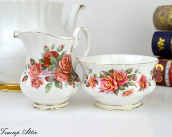 Royal Albert Centennial Rose Cream and Sugar Set, English Bone China Creamer and Open Sugar Bowl, Replacement china, ca. 1967