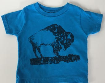 BABY Bison onesie  turquoise kids T shirts summer shirts  kids apparel baby shower gift screen printed buffalo cotton onesie and