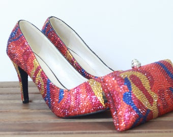 Multi-Color Printed Pattern, Luxury Crystal  Pumps & Clutch Set Wedding, Party