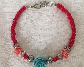 Rose Beaded Memory Wire Bracelet