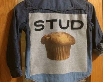 Upcycled Denim Shirt with Back Art, Boys Size 6, Stud Muffin Denim Shirt, Bleach Distressed Denim Shirt, Fun Boy's Denim Shirt, Kids Denim
