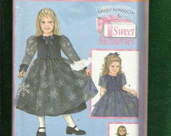 Simplicity 4808 Daisy Kingdom  Party Dress & Jacket  for Little Girls  Raised Waist and Matching Doll Dress  Sizes 3 TO 6 UNCUT