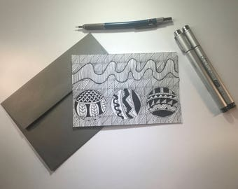 Any Occasion Card- Line'em Up, Black and White Stationery, Blank Flat Cards, Any Occasion, Stationery Set