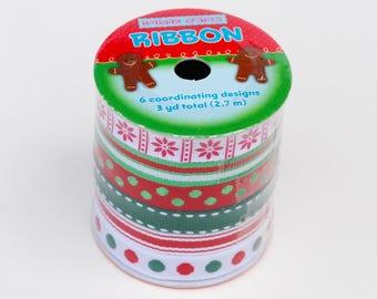 Christmas Ribbon - Christmas Patterned Ribbon - Red Green Ribbon - Christmas Grosgrain Ribbon