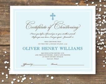 Godmother/Godfather Certificate Keepsake Printable - Monogram - Baby Boy
