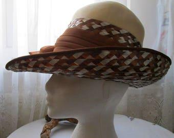 Ladies Vintage Retro Straw Hat Mitzi Lorenz London - Wedding -Races - Formal
