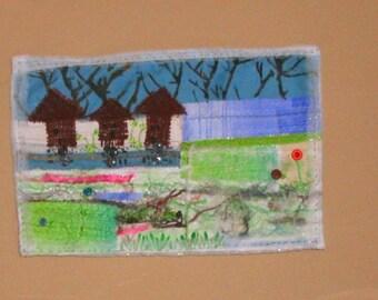 spring night mixed media art quilt wall hanging