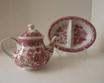Churchill China Company, Willow Rosa Pink Teapot & Oval Divided Vegetable Bowl, Made In England, Serving Pieces, Circa 1980's