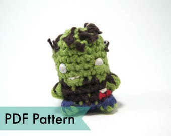 "PDF Pattern for Crocheted Zombie Amigurumi Kawaii Keychain Miniature Doll ""Pod People"""
