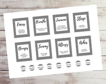 Essential Oil, Printable DIY 10ml Rollerball Labels Black & White  - INSTANT DOWNLOAD