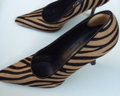 Size 7 A. GIANNETTI Made in Italy Tan Beige Black Zebra Stripe Ladies Women's Shoes Stiletto Pump Heels Leather Upper Leather Soles