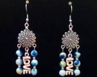 Natural Ocean Jade Love Chandelier Earrings available in Two Groovy Tye Dye Colors