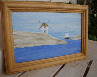 handpainted, Greek island, vintage watercolor acrylic on wood in frame-sailing boat windmill, seagulls Greek summer