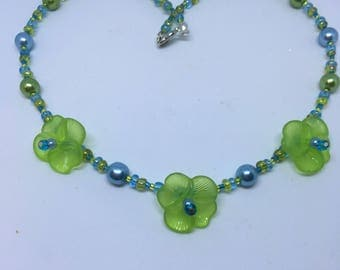 Lime Green & Turquoise Blue Pansy Flower Necklace Handmade Necklace-Gifts for women-Gifts for her-Ladies Jewellery-Ladies gifts