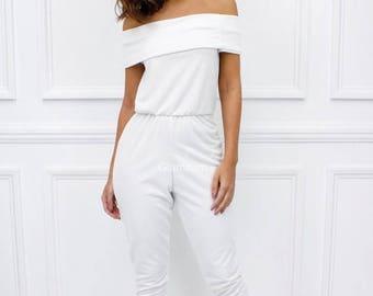 "ON SALE Glamzam New Womens Ladies ""Celina"" White Strapless Off Shoulder Bardot Style Classic Jumpsuit"