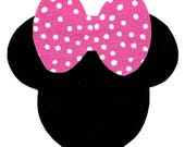 Minnie Mouse applique with big bow - iron on DIY