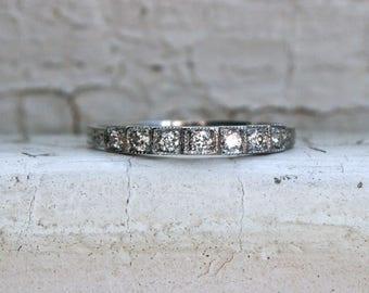 RESERVED - Vintage Art Deco Platinum Diamond Wedding Band.