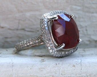 Gorgeous Vintage 14K White Gold Ruby and Diamond Halo Ring Engagement Ring - 16.43ct.