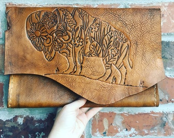 Bison leather envelope clutch-handmade-purse-women's handbags-satchel-leather purse-