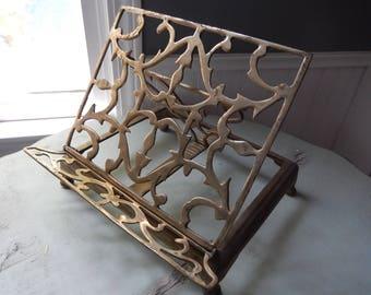 Brass Book Stand - Brass Book Holder - Book Display Stand - Brass Easel - Bible Stand - Vintage Brass Book Display - Cookbook Stand