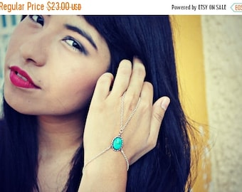 VACATION SALE turquoise green slave bracelet, turquoise hand chain, bracelet ring, ring bracelet, boho bracelet,  hipster bracelet, slave ri
