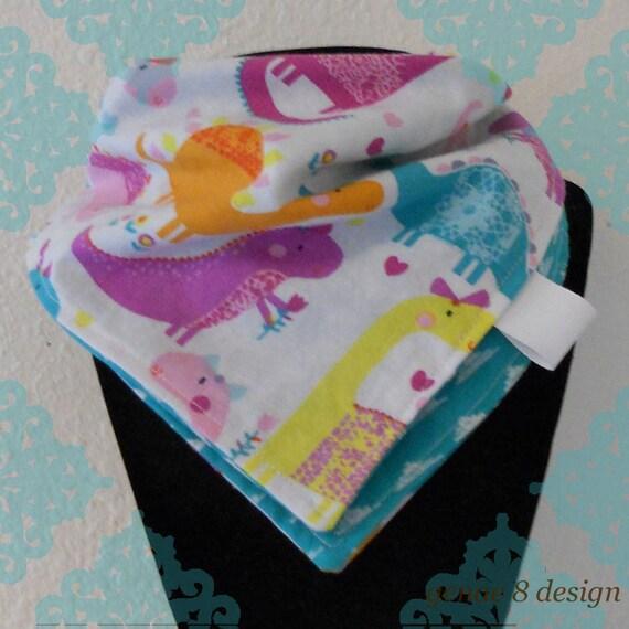 Reversible bandana bib burp cloth dinosaur and teal arrow for Girly dinosaur fabric