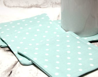 Blue Polka Dot Coaster Set