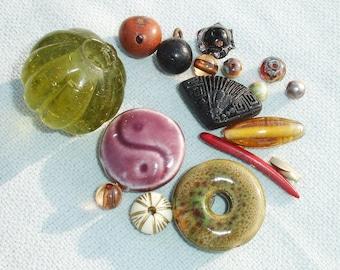 Mixed Funky Glass, Ceramic, Olive Wood Bead Lot - 17 pcs - Jewelry Making Supplies