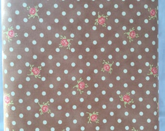 Warm Beige Cotton Fabric Pink Roses And White Polka Dotsshabby Chic Quilting