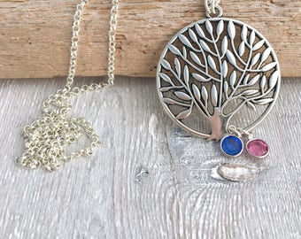 Long Tree of Life Necklace - Birthstone - Layering Necklace - Statement Necklace - Simple Boho Necklace - Long Necklace - Sweater Necklace